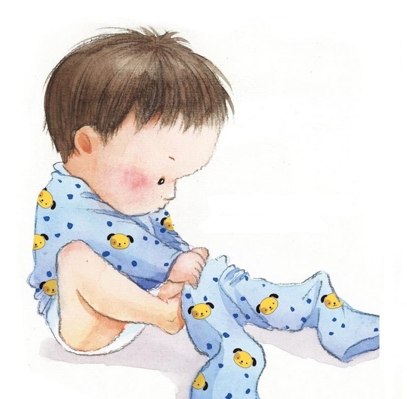【套衫】 穿套衫(看清衣服前后,有花纹的前面朝下,平放衣服在腿上,) 穿衣方法:两手抓住衣服的边,将头套进衣服内;两手分别从袖筒中伸出;再将衣服的边子往下拉. 儿歌:    一件衣服四个洞,宝宝钻进大洞洞,   脑袋钻出中洞洞,小手伸出小洞洞。    爬爬爬,爬爬爬,抓住衣边往下滑,   最先露出脑袋瓜。捏住袖口伸进去,   左手右手伸出来,最后把衣边往下拉。    衣服前面贴肚皮,抓住大口头上套,   脑袋钻出大出洞,胳膊钻出小山洞。       纽扣、花纹和领洞,   一起压到下面去,   双